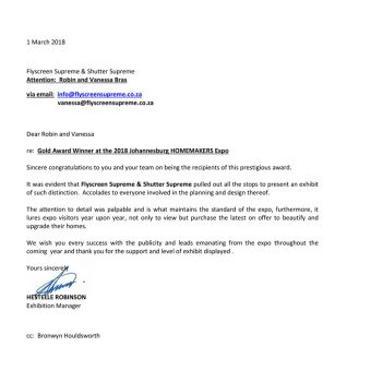 Homemakers Expo Johannesburg 2018 Gold Award Letter of Recognition